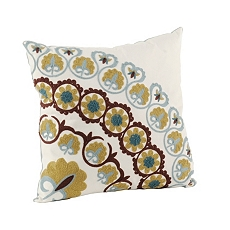 Blue & Brown Suzani Circle Pillow at Kirkland's