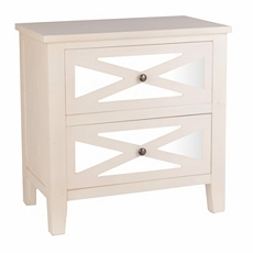 Cream Mirrored 2-Drawer Chest at Kirkland's