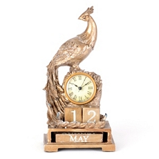 Gold Peacock Calendar Desk Clock at Kirkland's
