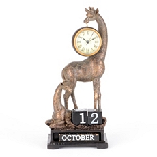 Gold Giraffe Calendar Desk Clock at Kirkland's