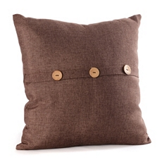 Brown Buttoned Linen Pillow at Kirkland's