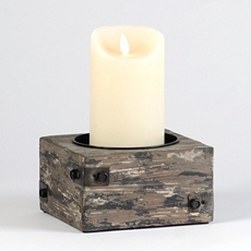 Distressed Wood Candle Holder I at Kirkland's