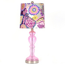 Purple Glass Floral Print Table Lamp at Kirkland's