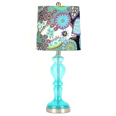 Teal Glass Floral Print Table Lamp at Kirkland's