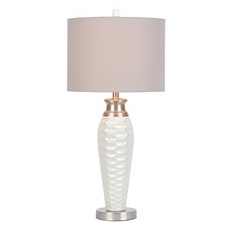White Pitted Ceramic Table Lamp at Kirkland's
