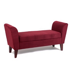 Bella Berry Red Upholstered Storage Bench at Kirkland's