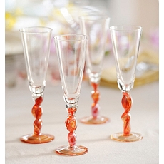 Twisted Red Flute, Set of 4 at Kirkland's