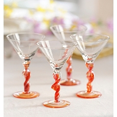 Twisted Red Martini Glass, Set of 4 at Kirkland's