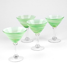 Twirlin' Green Martini Glass, Set of 4 at Kirkland's