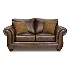 Gracia Chocolate Bonded Leather Loveseat at Kirkland's