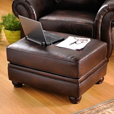Gracia Chocolate Bonded Leather Ottoman at Kirkland's