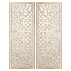 Mirrored Wood Wall Plaque, Set of 2 at Kirkland's