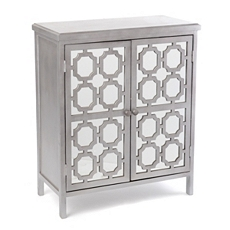 Gray Mirrored Door Wood Cabinet at Kirkland's
