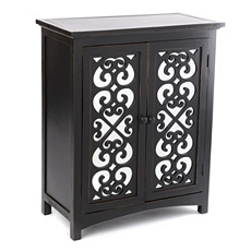 Black Mirrored Door Wood Cabinet at Kirkland's