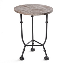 Distressed Round Wood & Metal Accent Table at Kirkland's