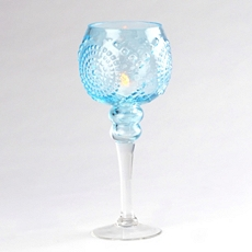Blue Glass Medallion Stemmed Hurricane, 12 in. at Kirkland's