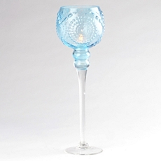 Blue Glass Medallion Stemmed Hurricane, 16 in. at Kirkland's