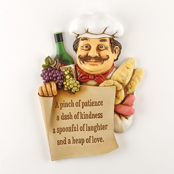 Fat Chef Wall Art Plaque Sign Pinch of Patience Bistro Kitchen ...