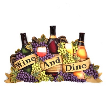 grapes wine bottle wall art plaque tuscan vineyard kitchen. Black Bedroom Furniture Sets. Home Design Ideas