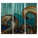Aqua Blue Waves Metal Plaque, Set of 3 at Kirkland's