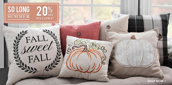 20% Off Pillows - Some exclusions applly online