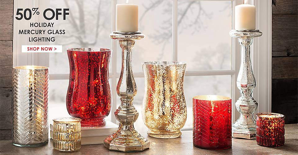 50% Off Holiday Mercury Glass Lighting - Shop Now