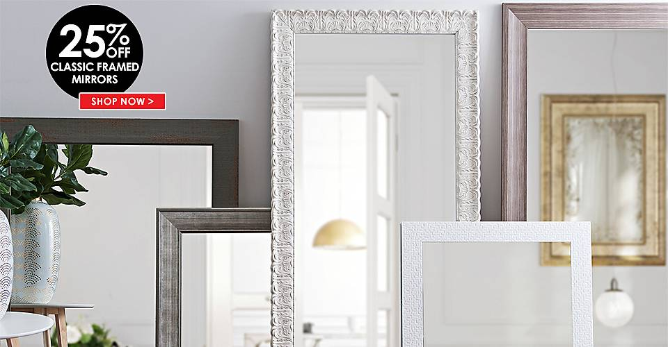 20% Off Classic Framed Mirrors - Shop Now