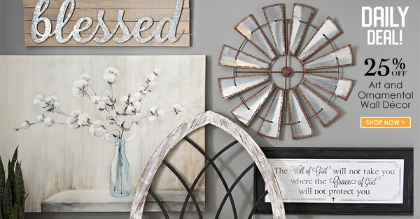 Daily Deal - 25% off All Art and Ornamental Wall Decor - Shop Now