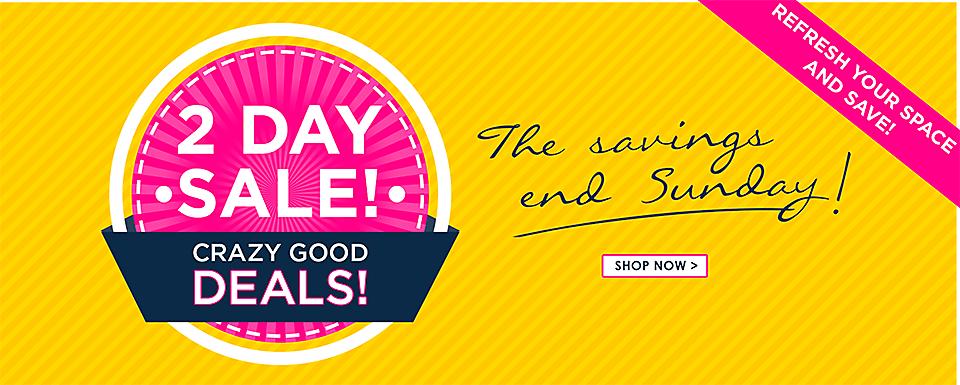 2 DAY Sale - Crazy Good Deals - Savings end Sunday - Shop Now