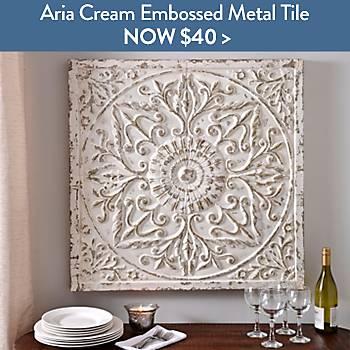 Aria Distressed Cream Embossed Metal Tile - Now $40