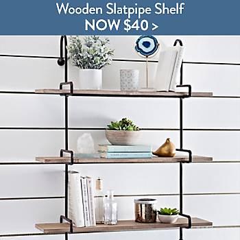 Wooden Slatpipe Shelf - Now $40