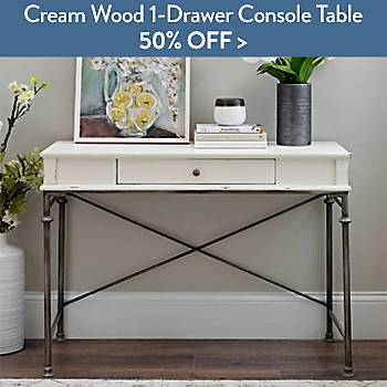 50% off Cream Wood 1-Drawer Console Table