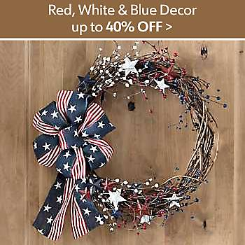 Up to 40% off Red, White and Blue Decor