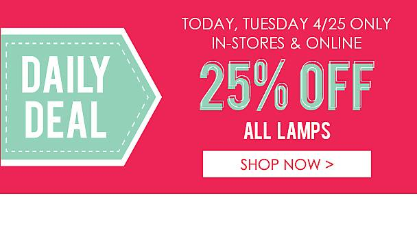 25% Off All Lamps - Shop Now