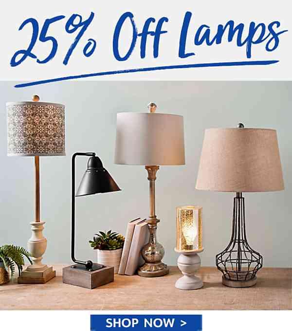 25% off lamps - Shop Now