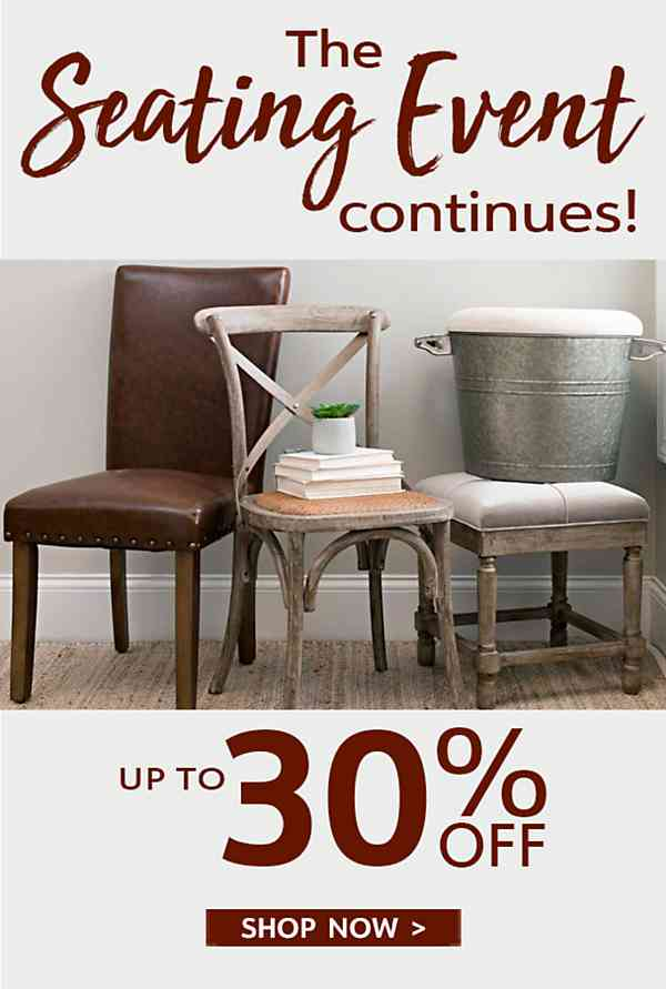 The Seating Event Continues - Up to 30% Off - Shop Now