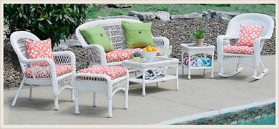 Outdoor furniture by swimming pool
