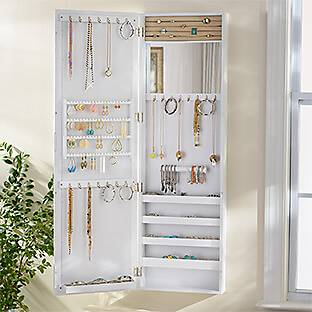 White Wood Over-the-Door Jewelry Armoire Mirror
