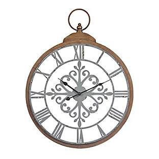 Clare Wood Tone Metal Clock