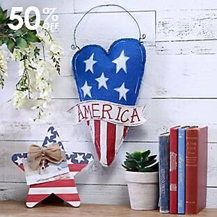 Burlap America Heart Wall Hanger
