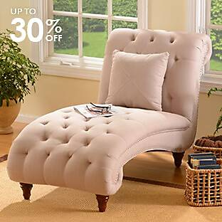 Tufted Linen Chaise Loungech