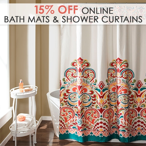 Online Only: 15% Off All Bath Mats & Shower Curtains