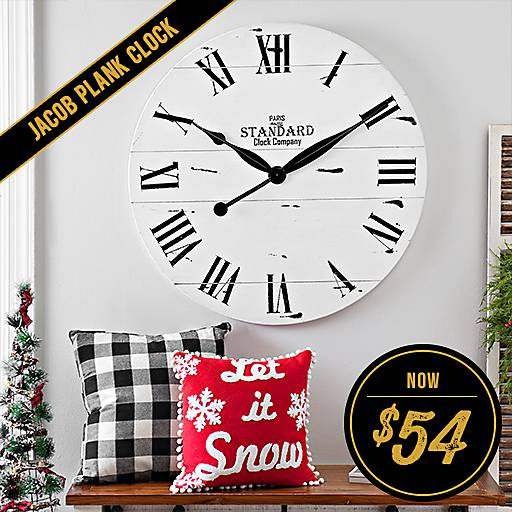 Jacob White Wood Plank Clock Now $54
