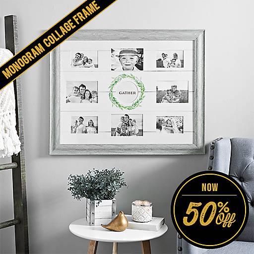 50% off Rustic Monogram Wreath Collage Frame
