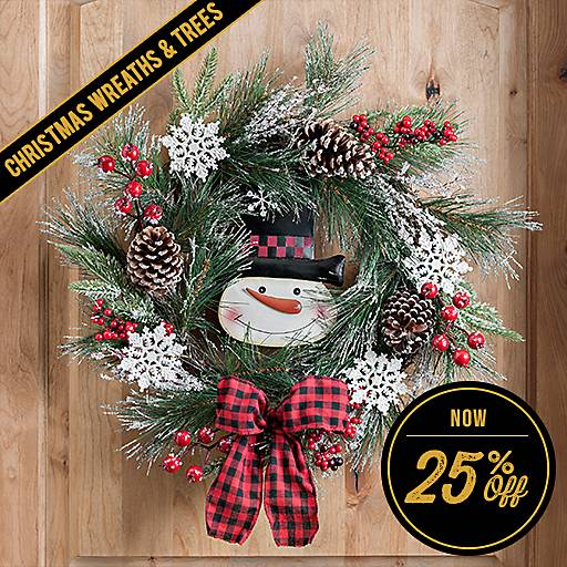 25% Off Christmas Wreaths & Trees