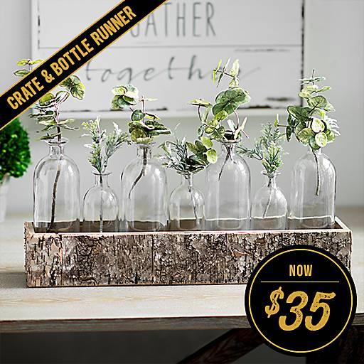 Birch Crate Glass Bottle Vase Runner Set Now $35