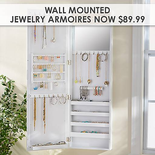 Wall Mounted Jewelry Armoires Now $89.99