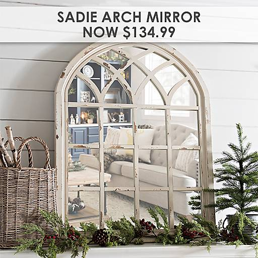 Elegant Distressed Cream Sadie Arch Mirror Now $134.99