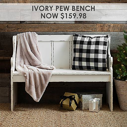 Distressed Ivory Pew Bench Now $159.98