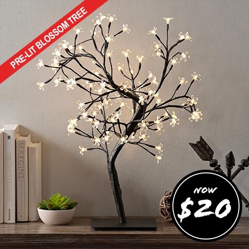 Pre-Lit White Cherry Blossom Tree Now $20